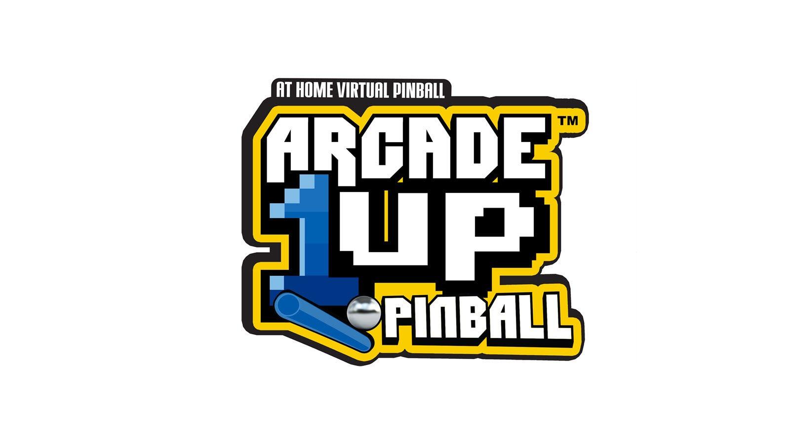 "A Logo featuring the words ""At Home Virtual Pinball Arcade1Up Pinball"""