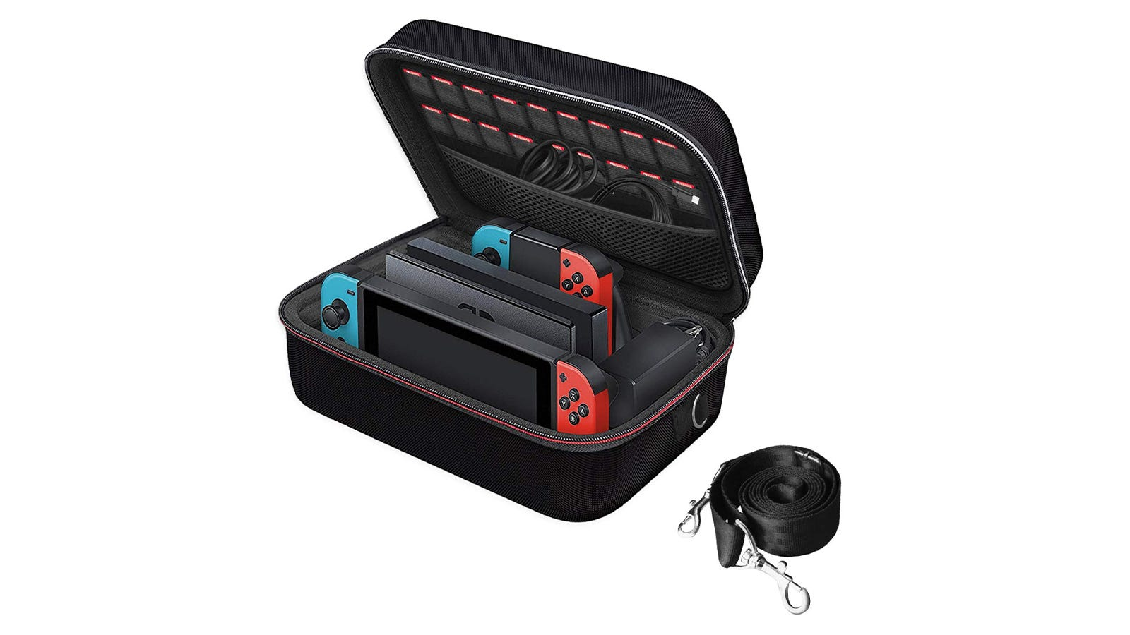 The iVoler Nintendo Switch Carrying Case with the lid open, showing several cords and controllers inside.