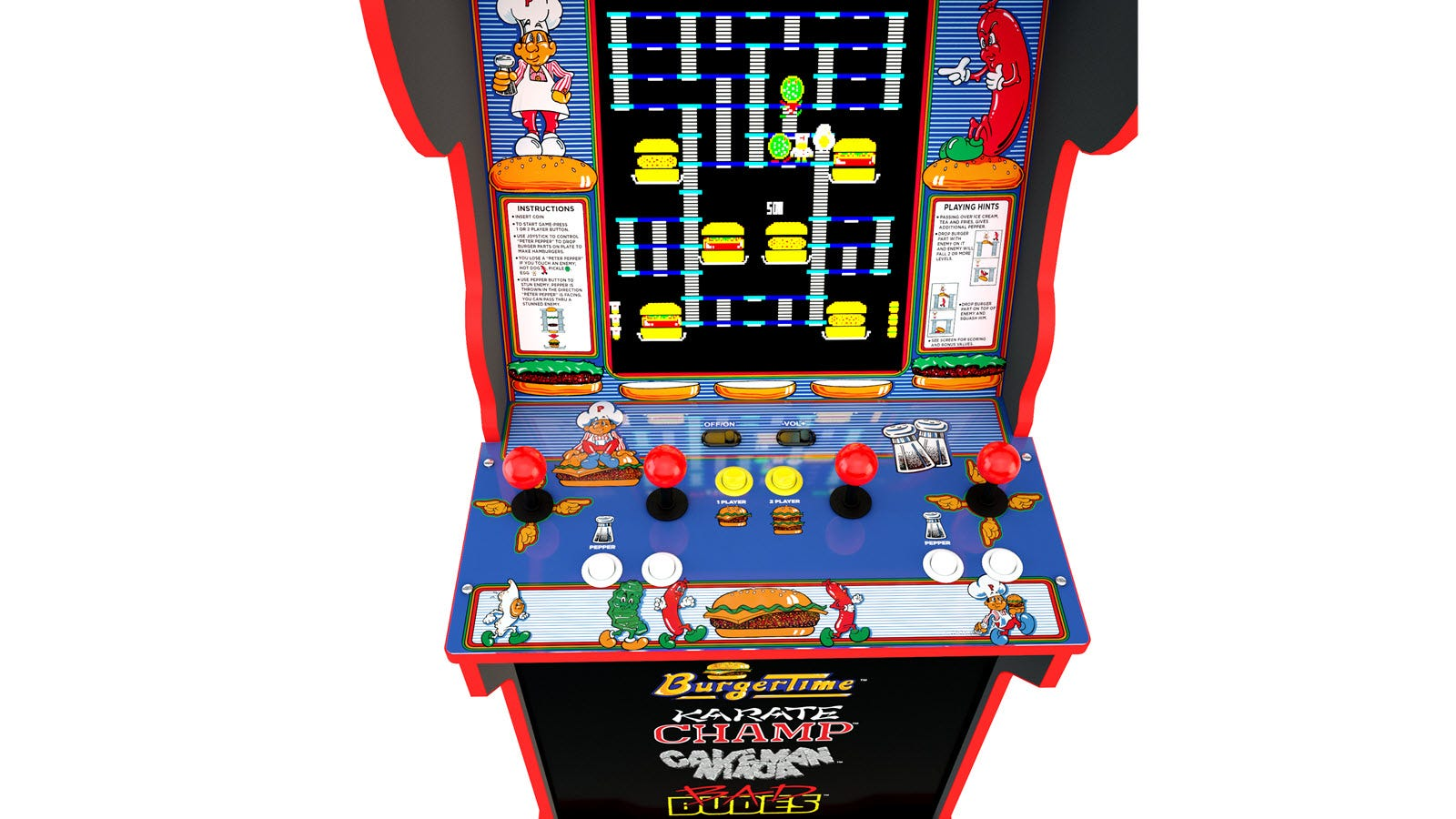An arcade machine with four red-topped joysticks, four white buttons, and two yellow buttons.
