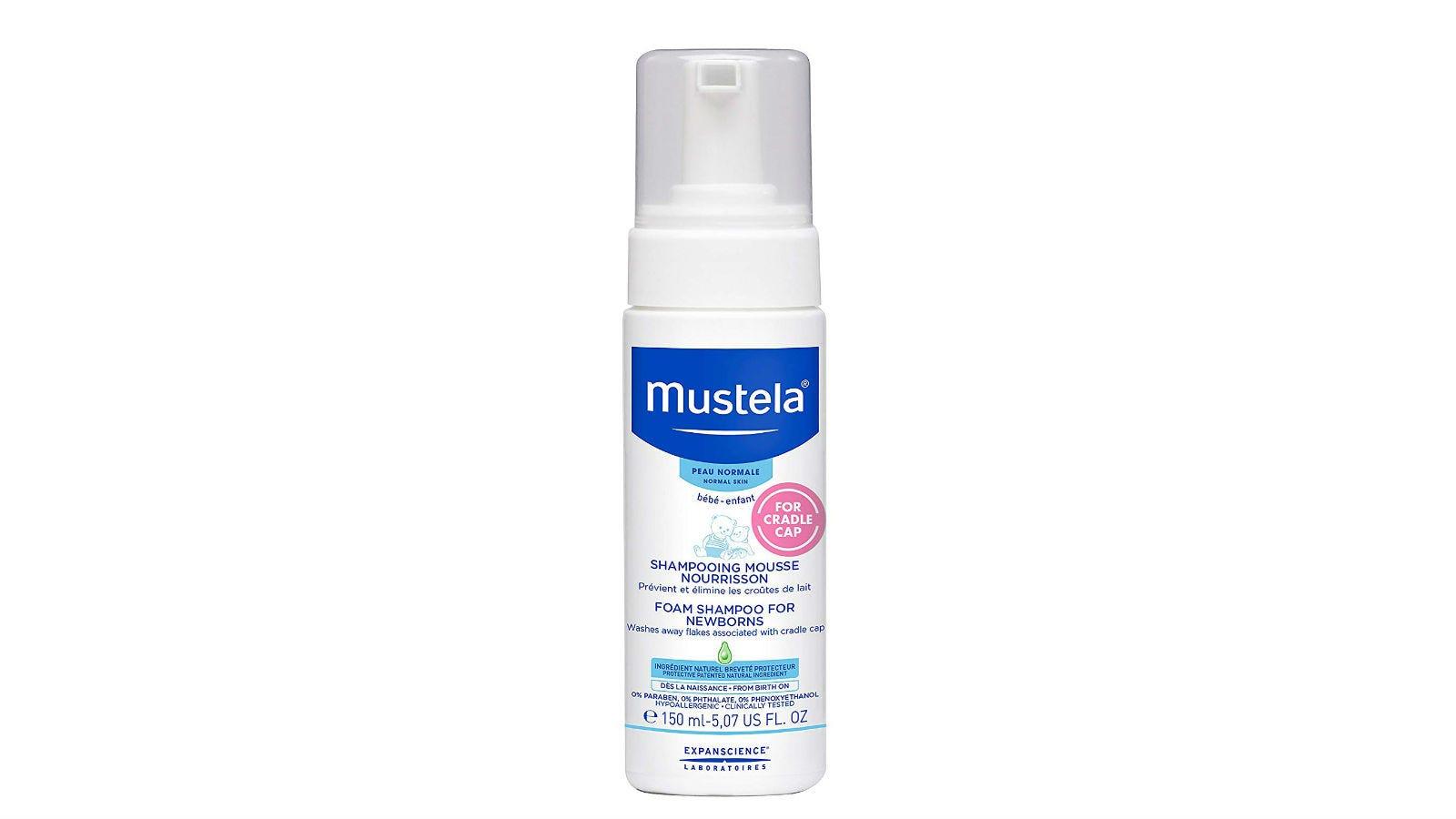 A pump bottle of Mustela Foam Shampoo.