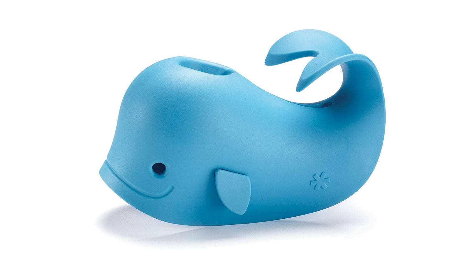 The blue-whale-shaped Skip Hop Moby Bath Spout Cover in blue.