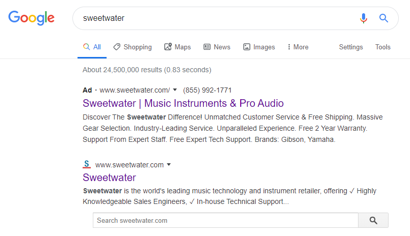 An example of a search showing and ad and organic result that go to the same place