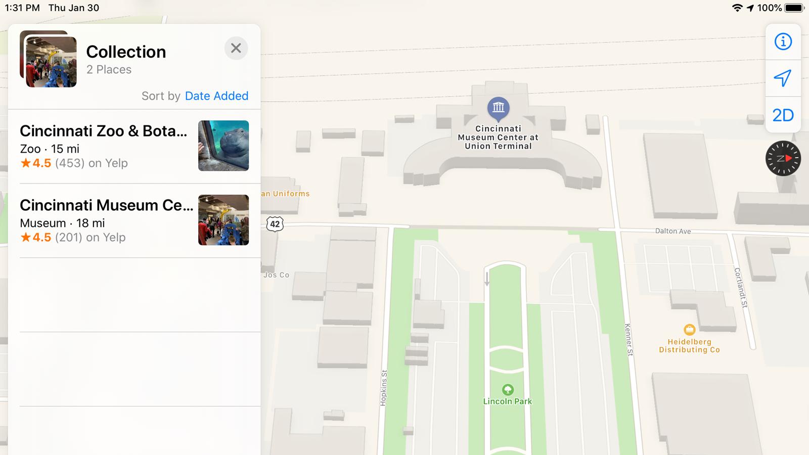 An Apple Maps view of the Cincinnati Museum Center