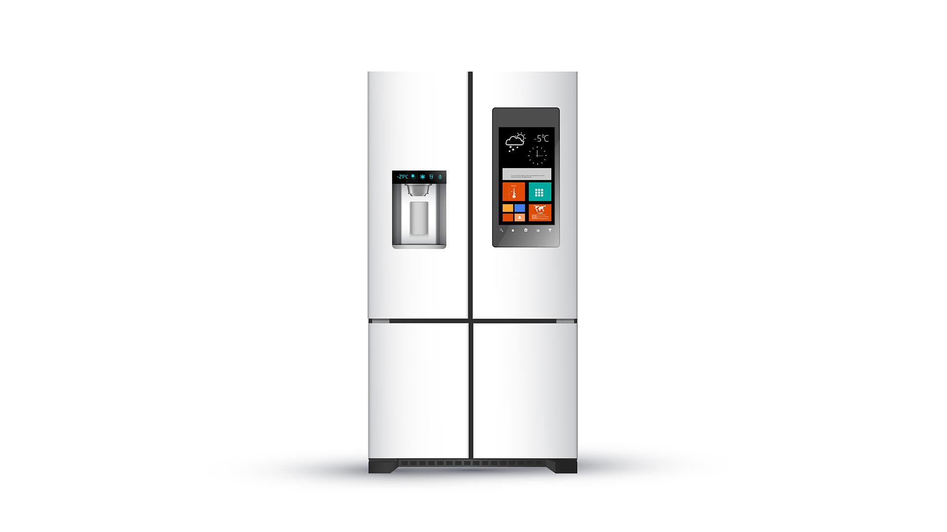 A stainless-steel smart fridge.