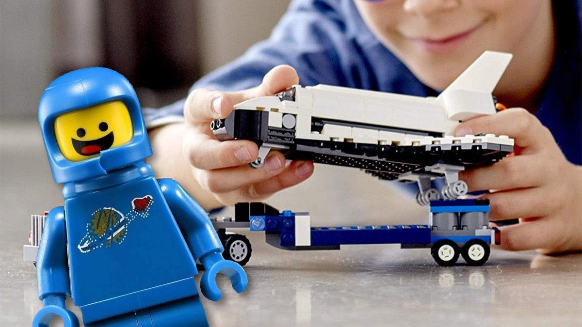 Benny and a LEGO space shuttle.