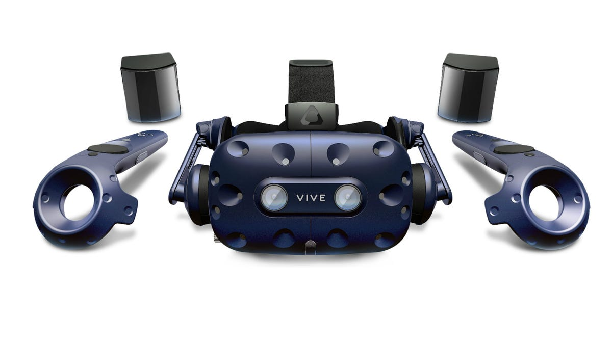 HTC Vive Pro and accessories from the front
