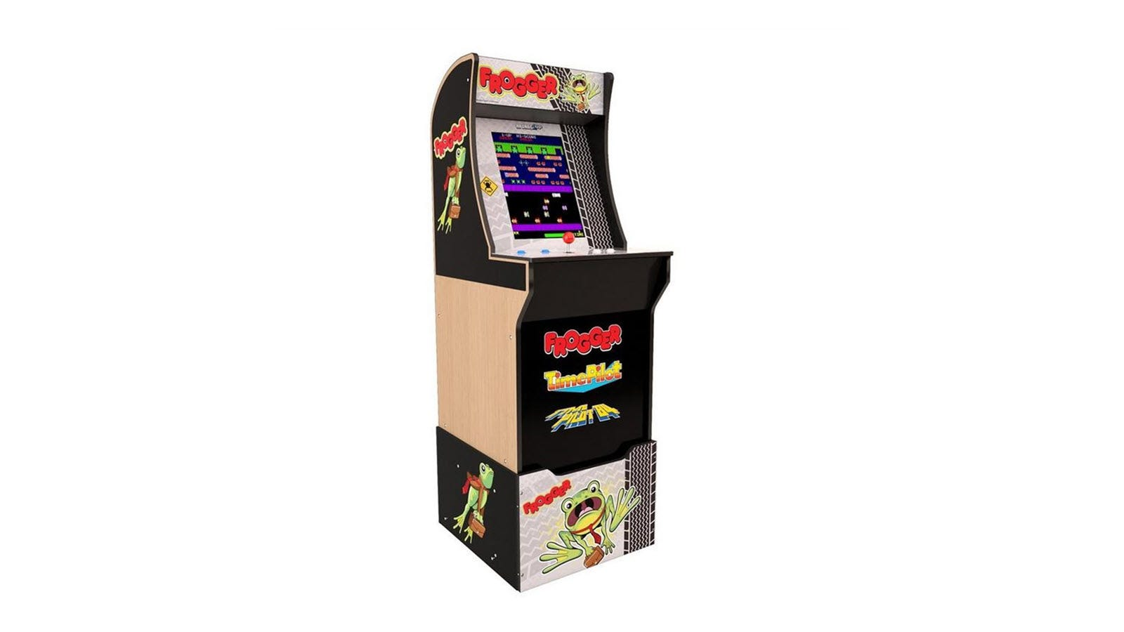 A Frogger Arcade1Up cabinet with custom riser and one joystick.