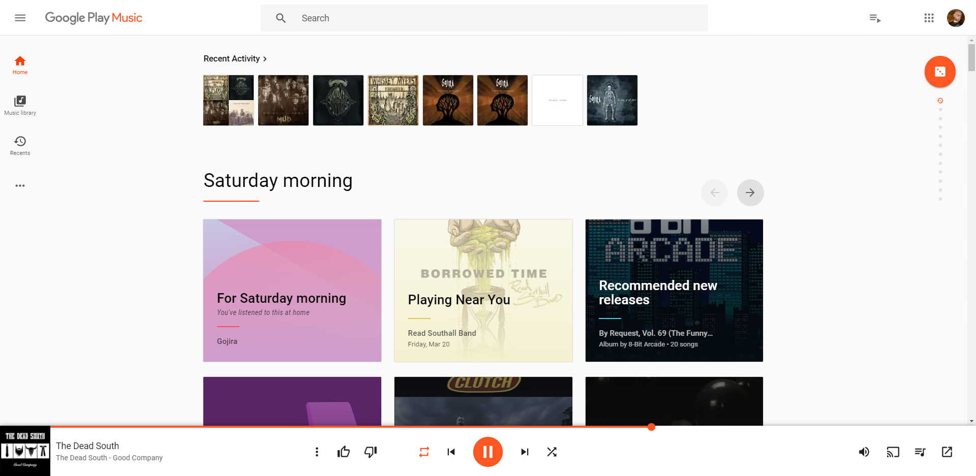 Google Play Music's Home Page