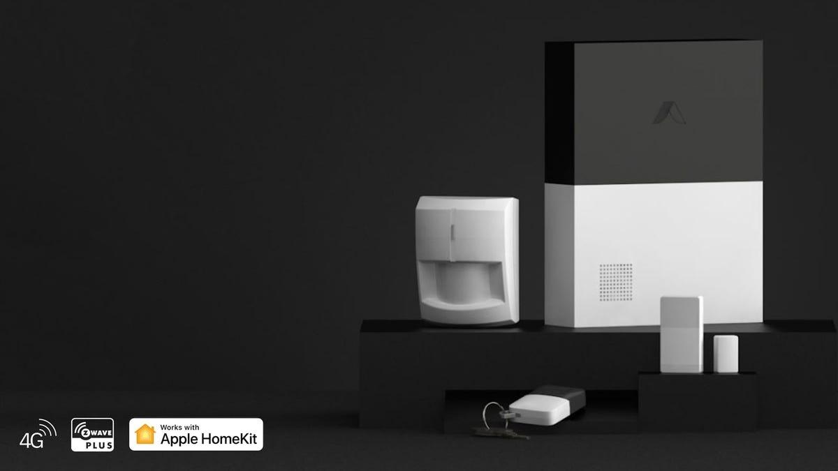 An Abode Smart Security System with HomeKit logos