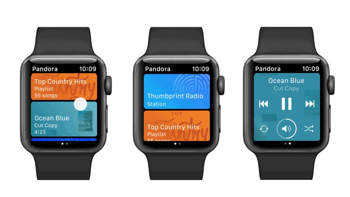 Three photos of the Pandora App on Apple Watch.