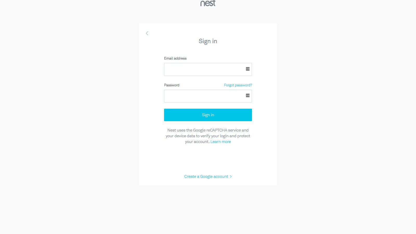 A Nest Login page with a reCAPTCHA warning.