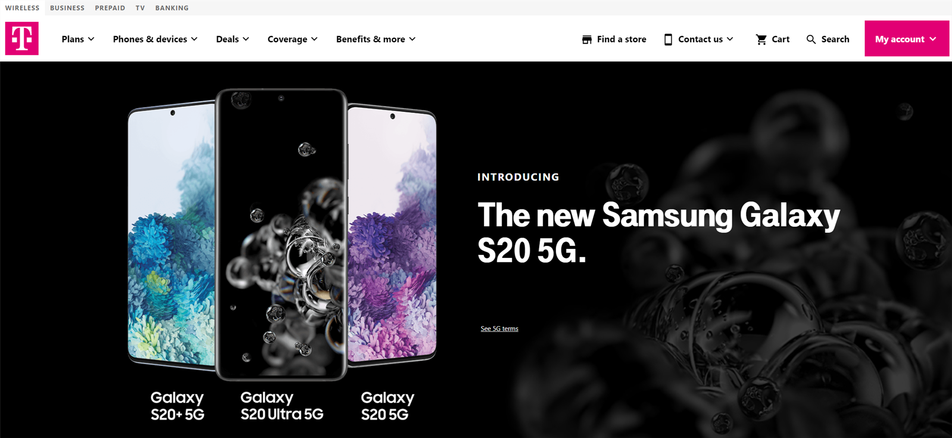T-Mobile Galaxy S20 Preorder Page