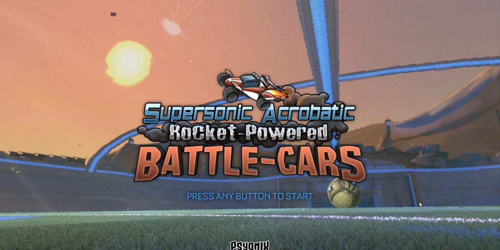 The Supersonic Acrobatic Rocket-Powered Battle-Cars title screen.