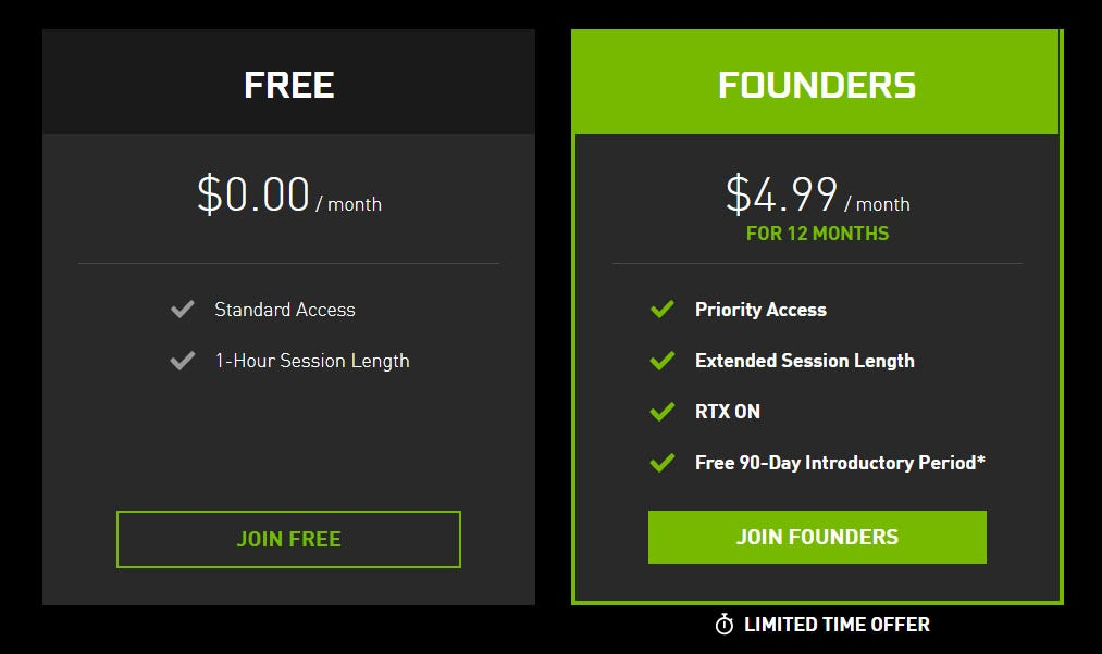 Two options for GeForce NOW membership.