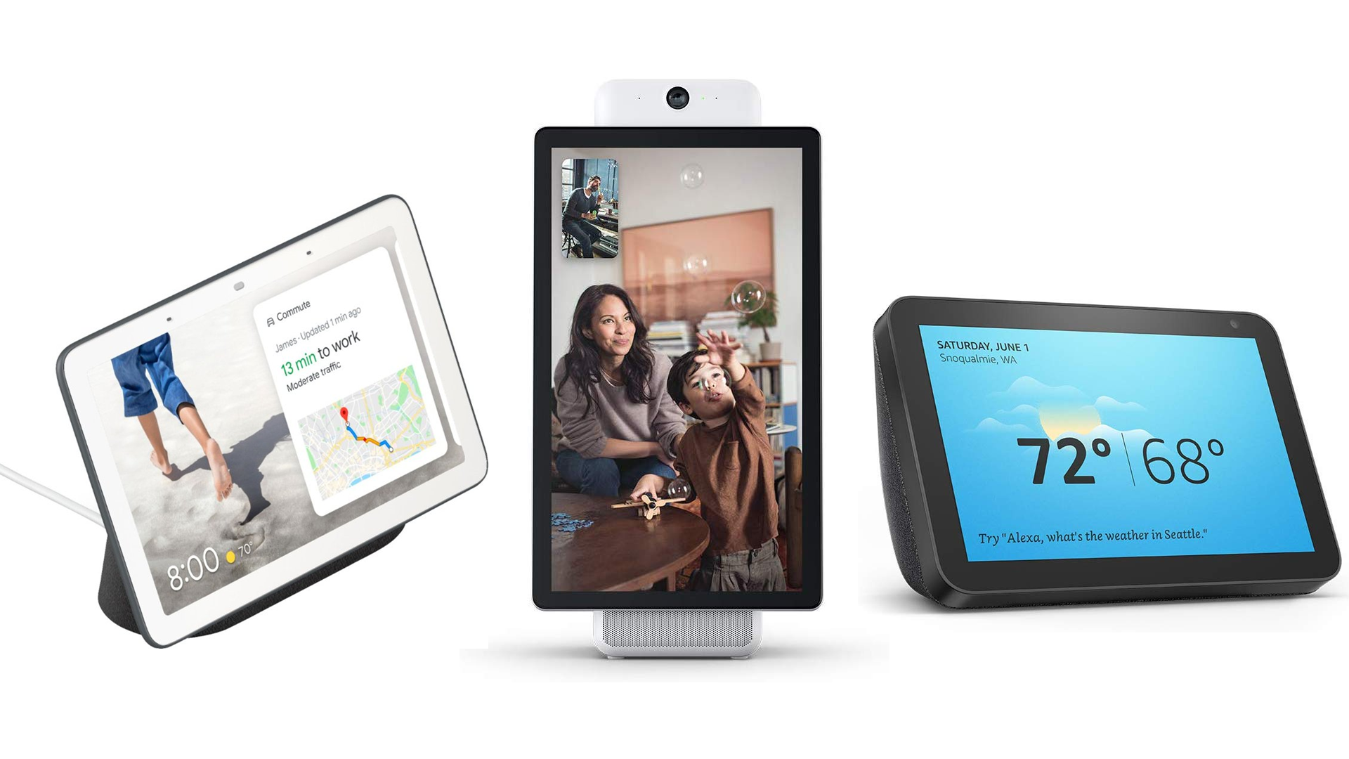The Google Nest Hub, Facebook Portal, and Echo Show 8 smart displays.