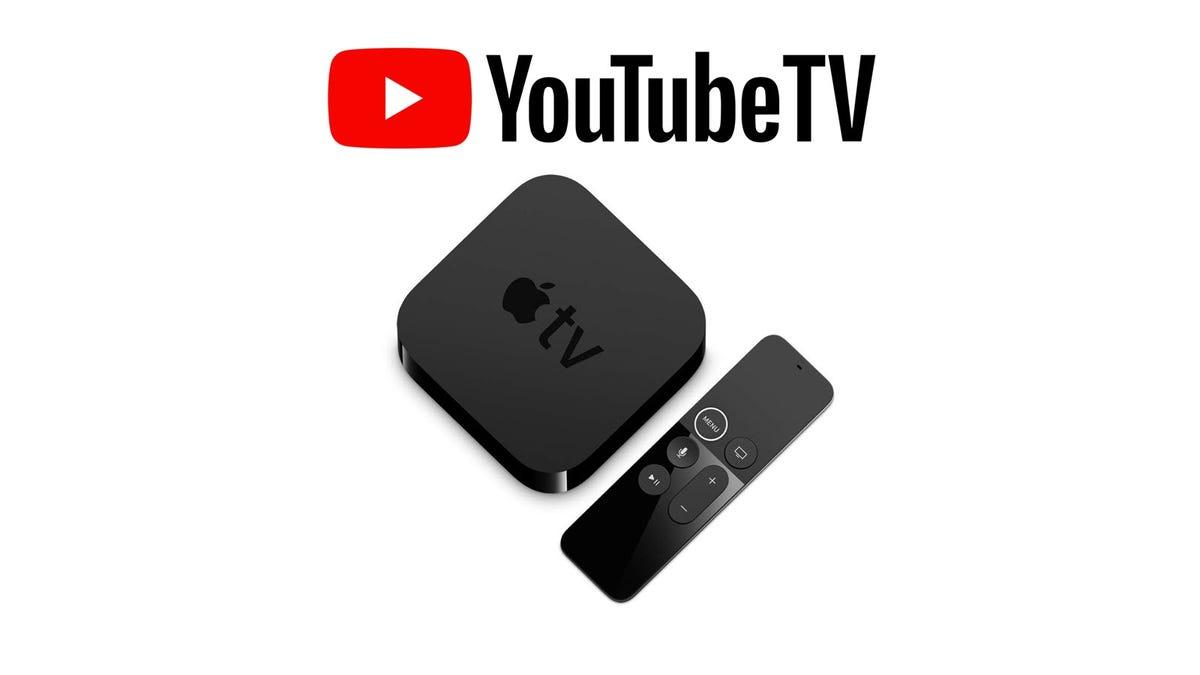 The YouTube TV logo overtop an Apple TV