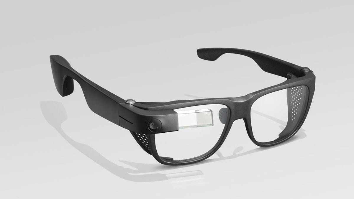 A Google Glass Enterprise Edition 2 developer pod paired with safety glasses.