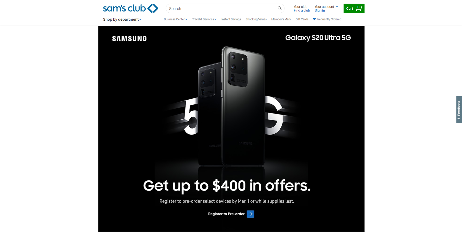 Sam's Club Galaxy S20 Preorder Page
