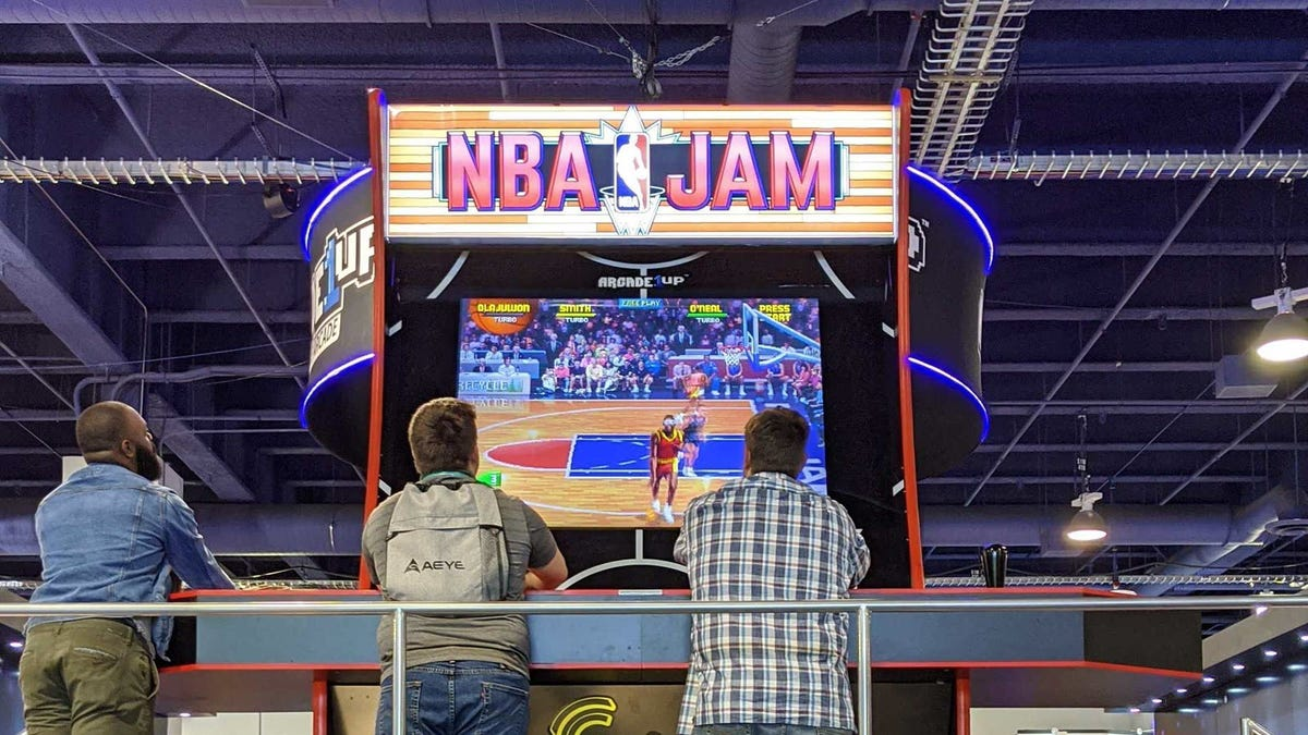 A 16 foot tall NBA Jam Machine