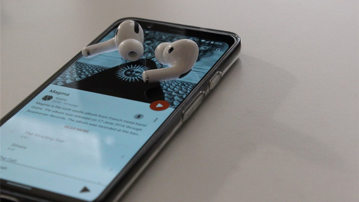 AirPods Pro on a Pixel 4 XL with Google Play Music open