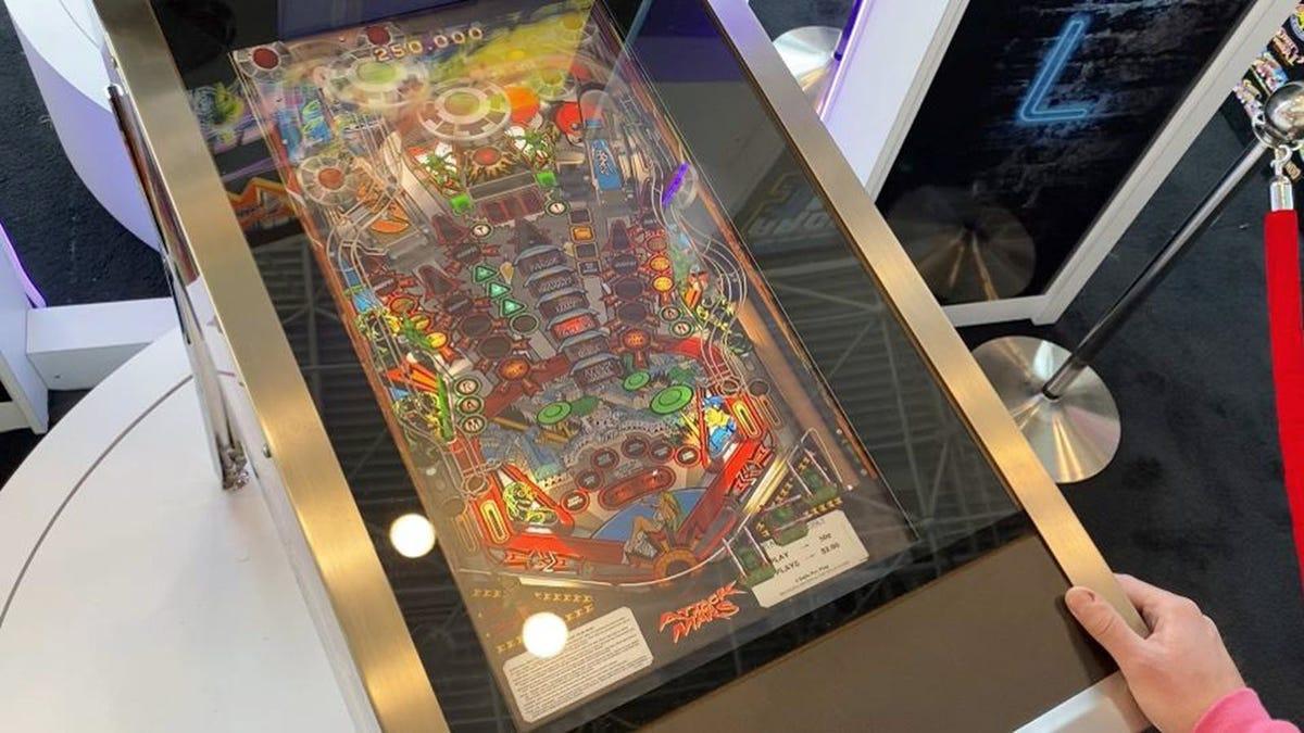 An Arcade1Up pinball machine, seen from above.