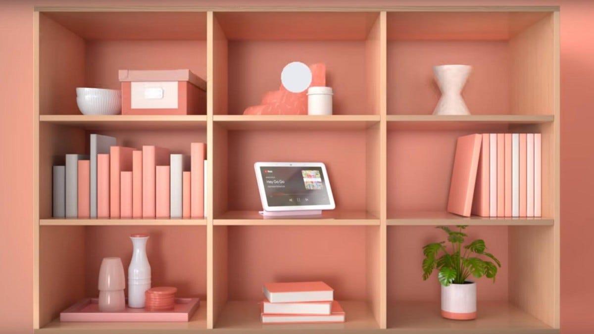 A photo of the Google Nest Hub on a shelf.