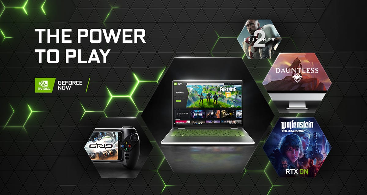 A laptop and a phone playing Fortnite through GeForce Now