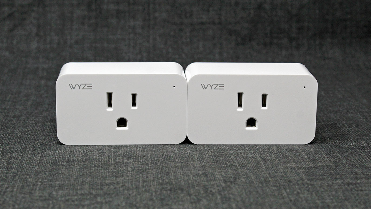 A photo of two Wyze smart plugs side by side.