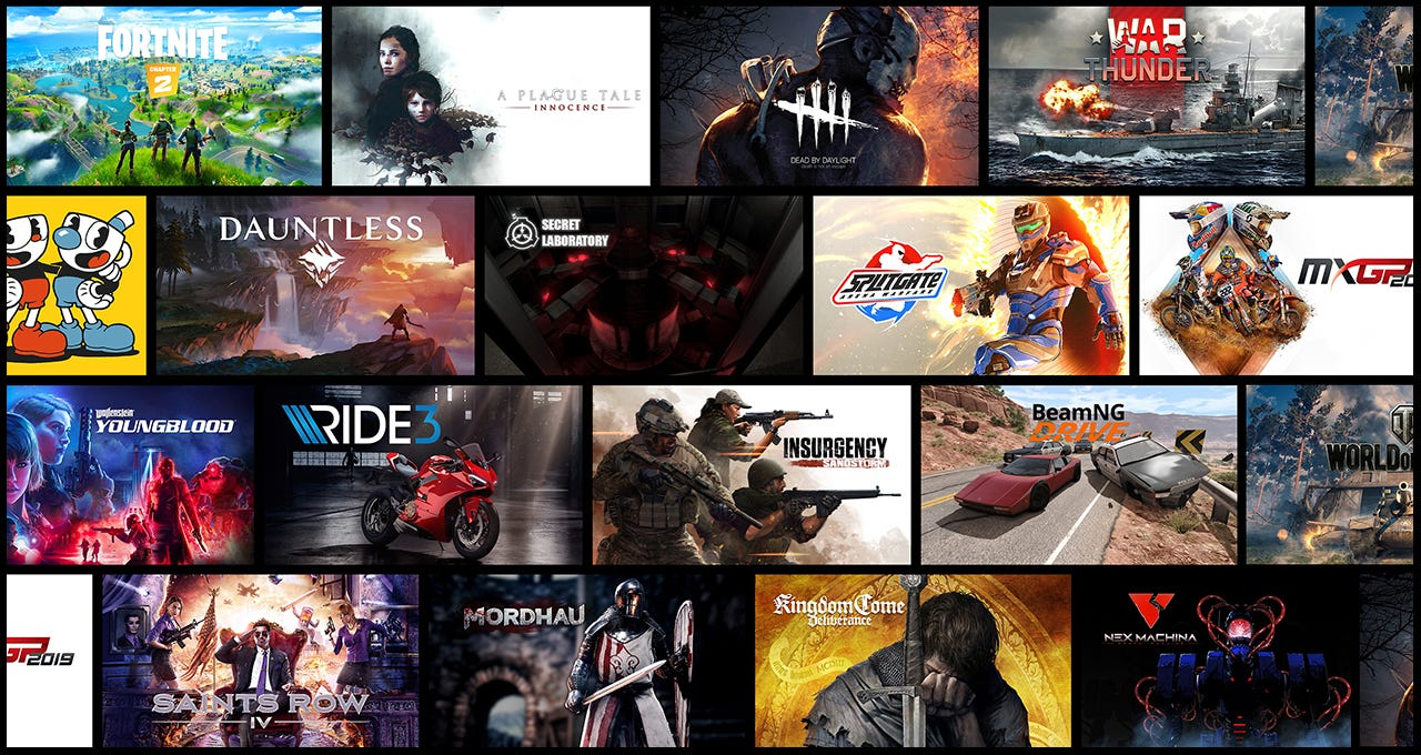 A selection of GeForce NOW games.