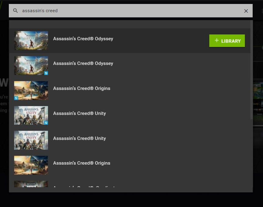 a GeForce Now search for Assassin's Creed.