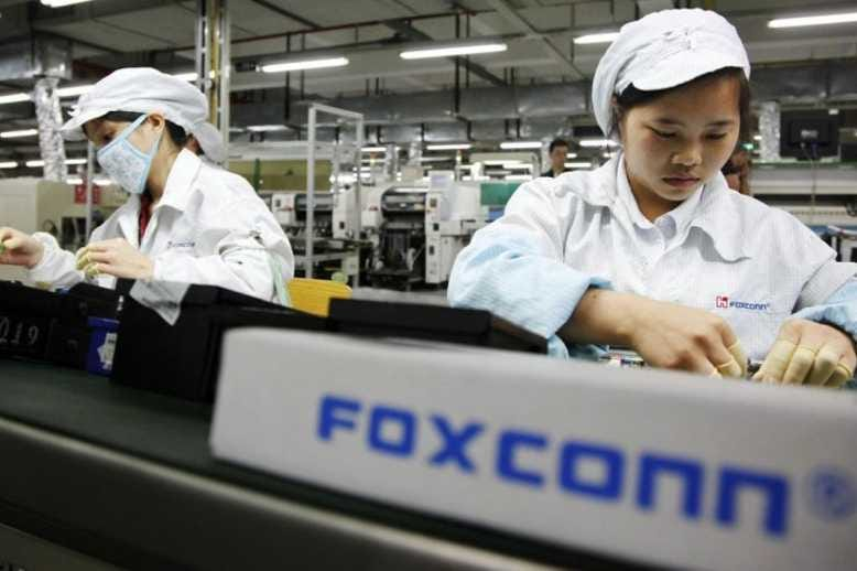 Workers at a Foxconn factory.