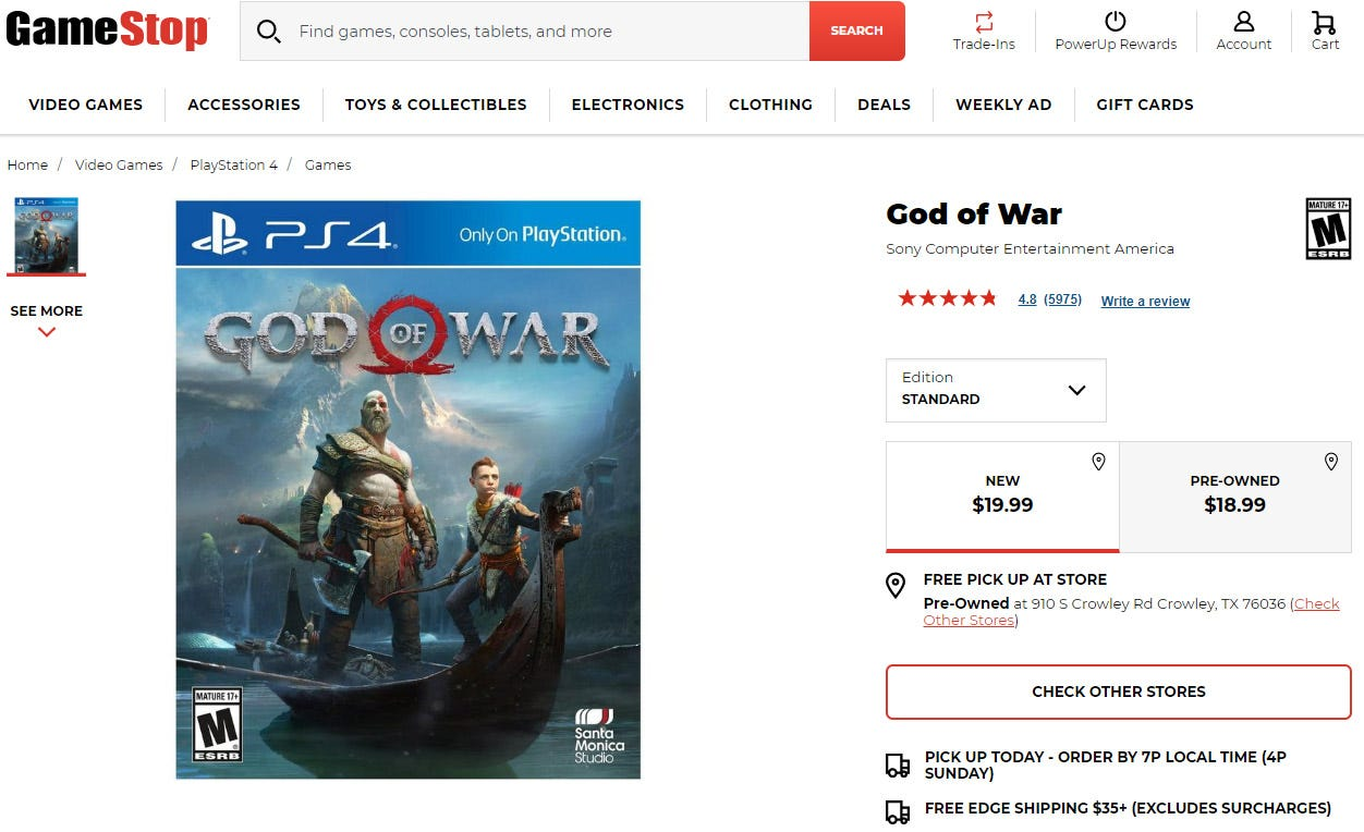 God of War for the PS4.