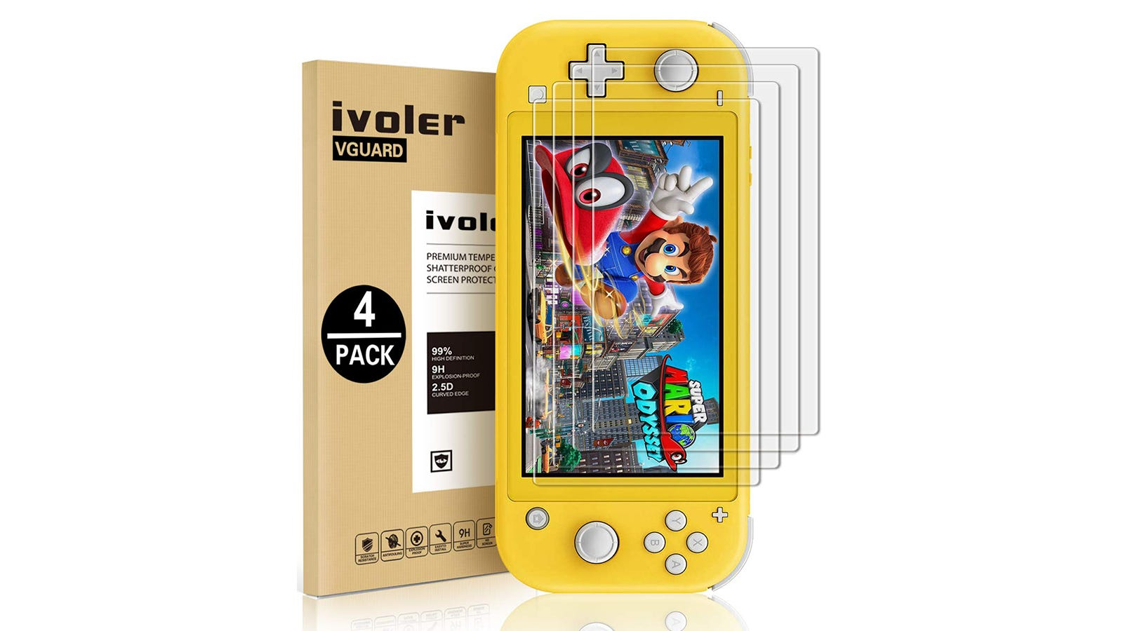 ivoler Tempered Glass Screen Protector (Four Pack)