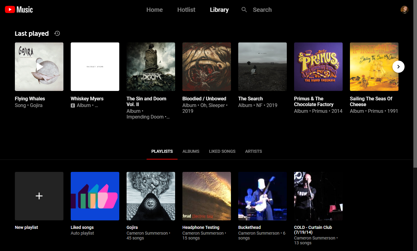 """The """"last played"""" section under the Library tab"""