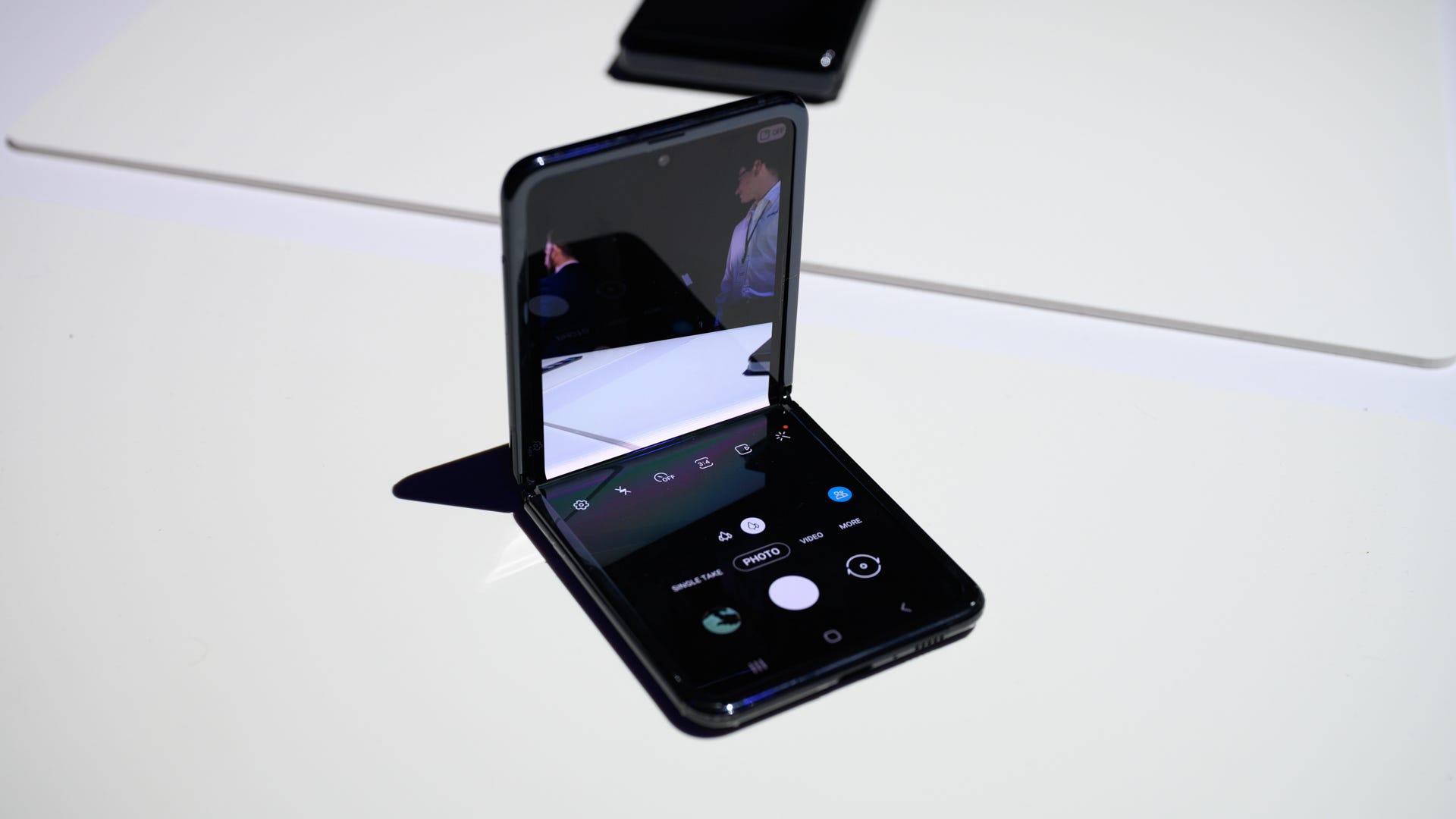 Galaxy Z Flip open in Flex Mode