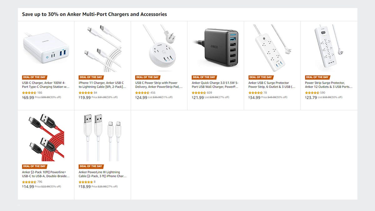 The Amazon website, with images of Anker accessories on discount.