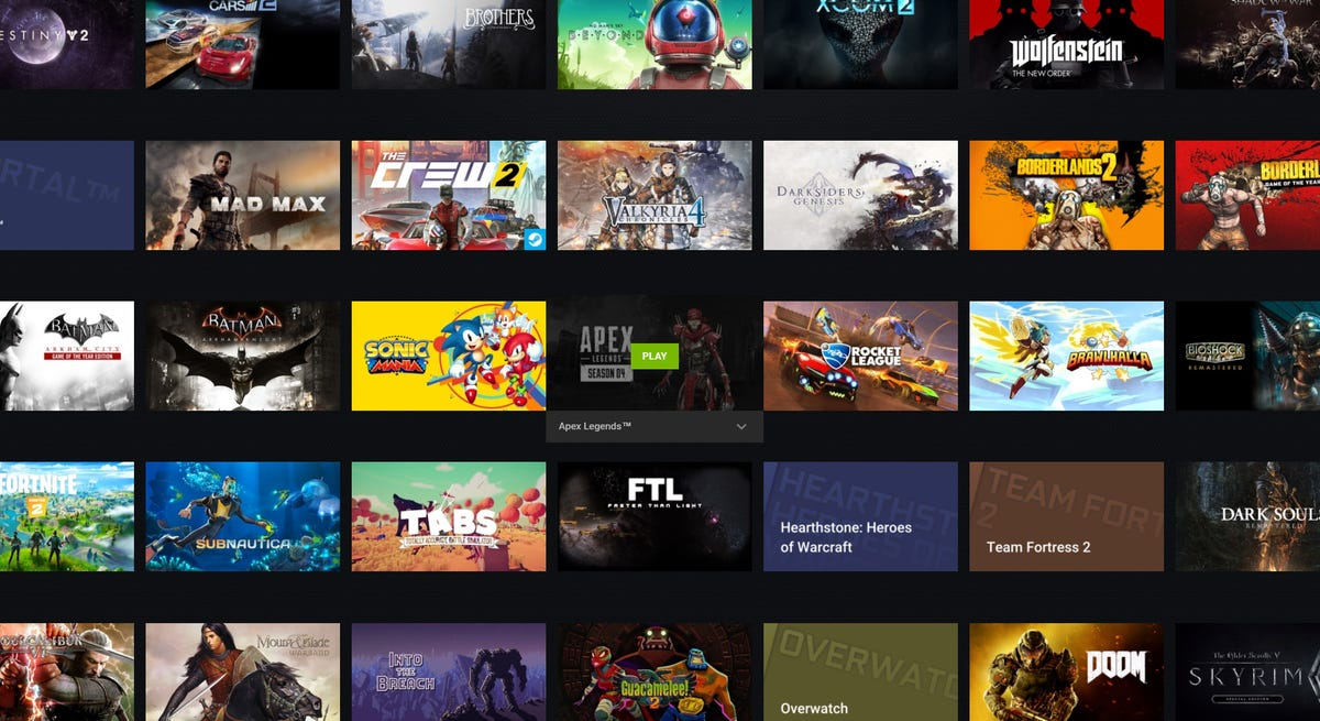 The GeForce NOW library page.