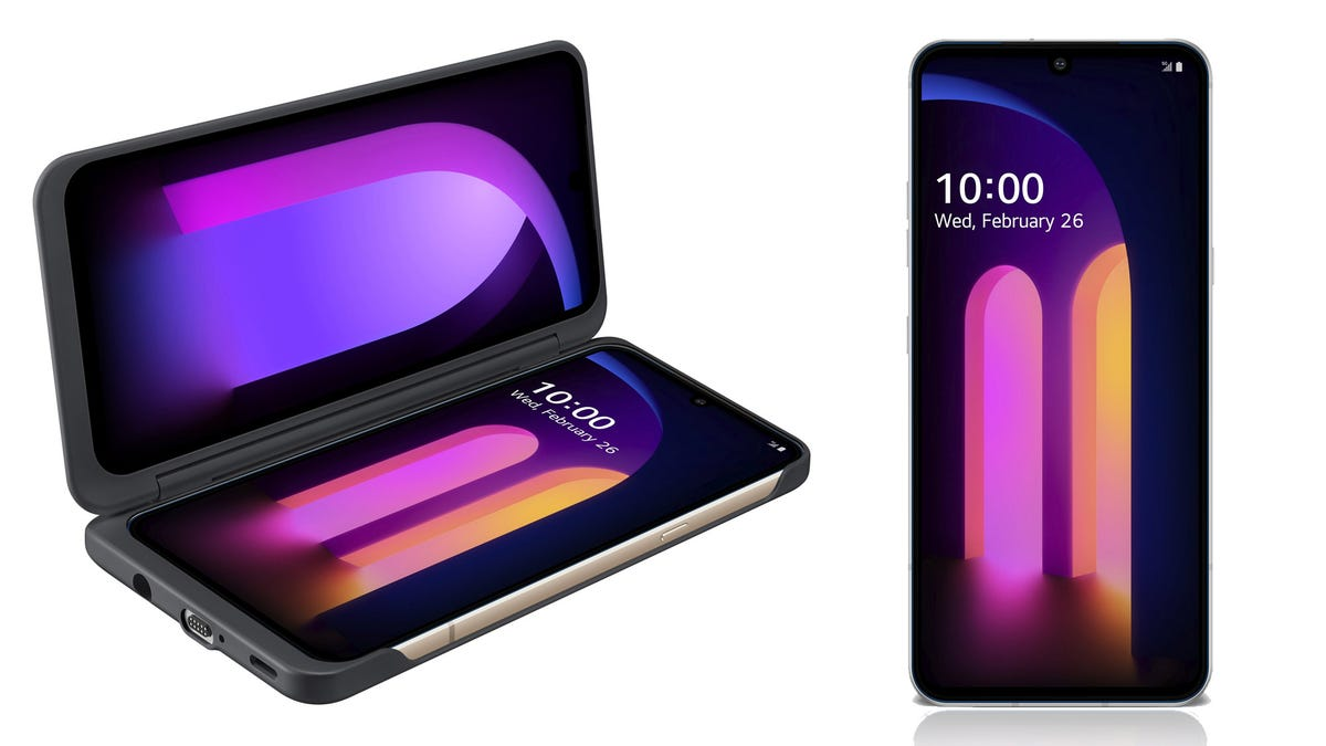 The LG V60 ThinQ phone with an attached second display.
