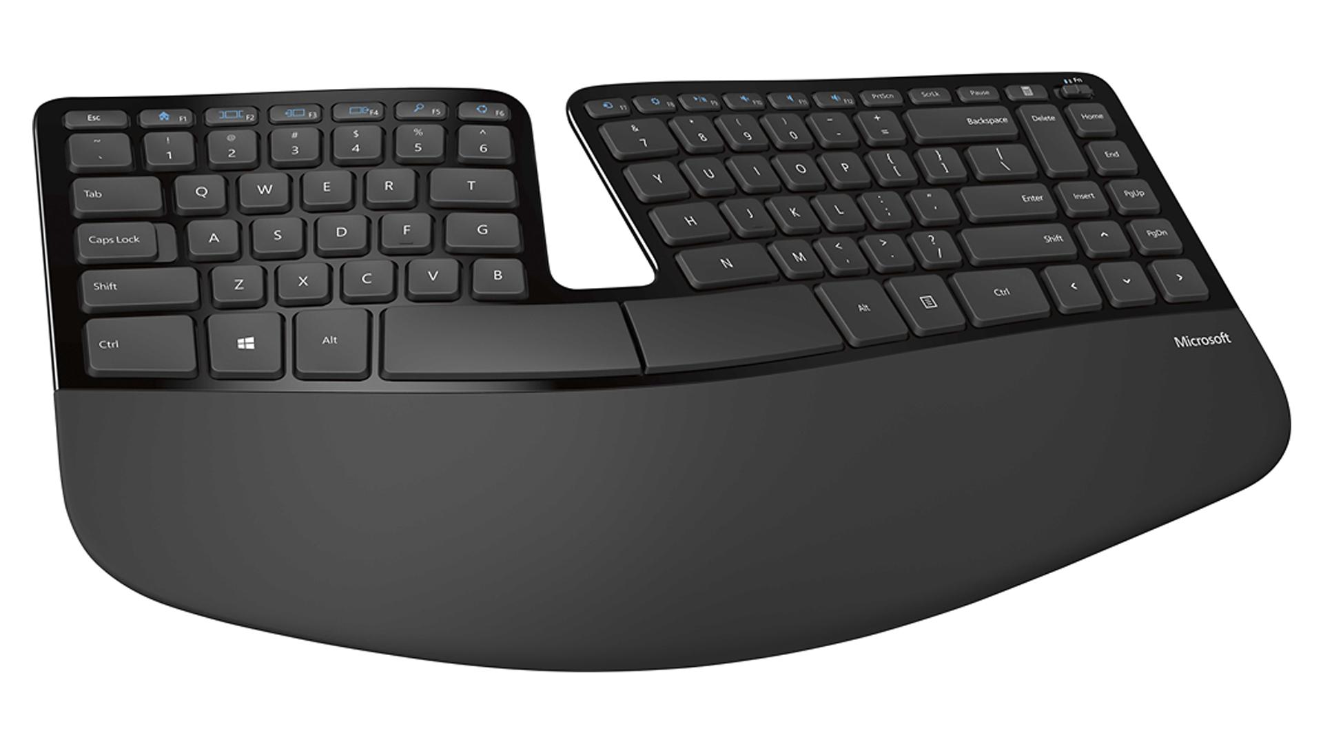 A photo of the Microsoft Sculpt Ergo Keyboard.