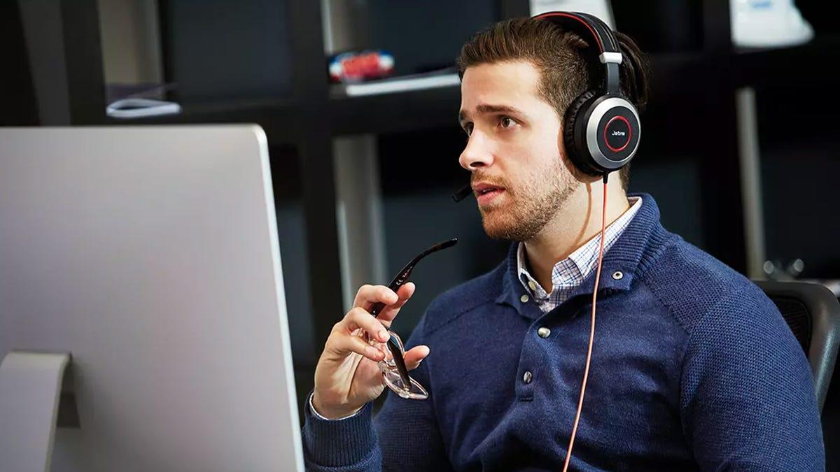 Jabra Evolve 80 headset promo image.