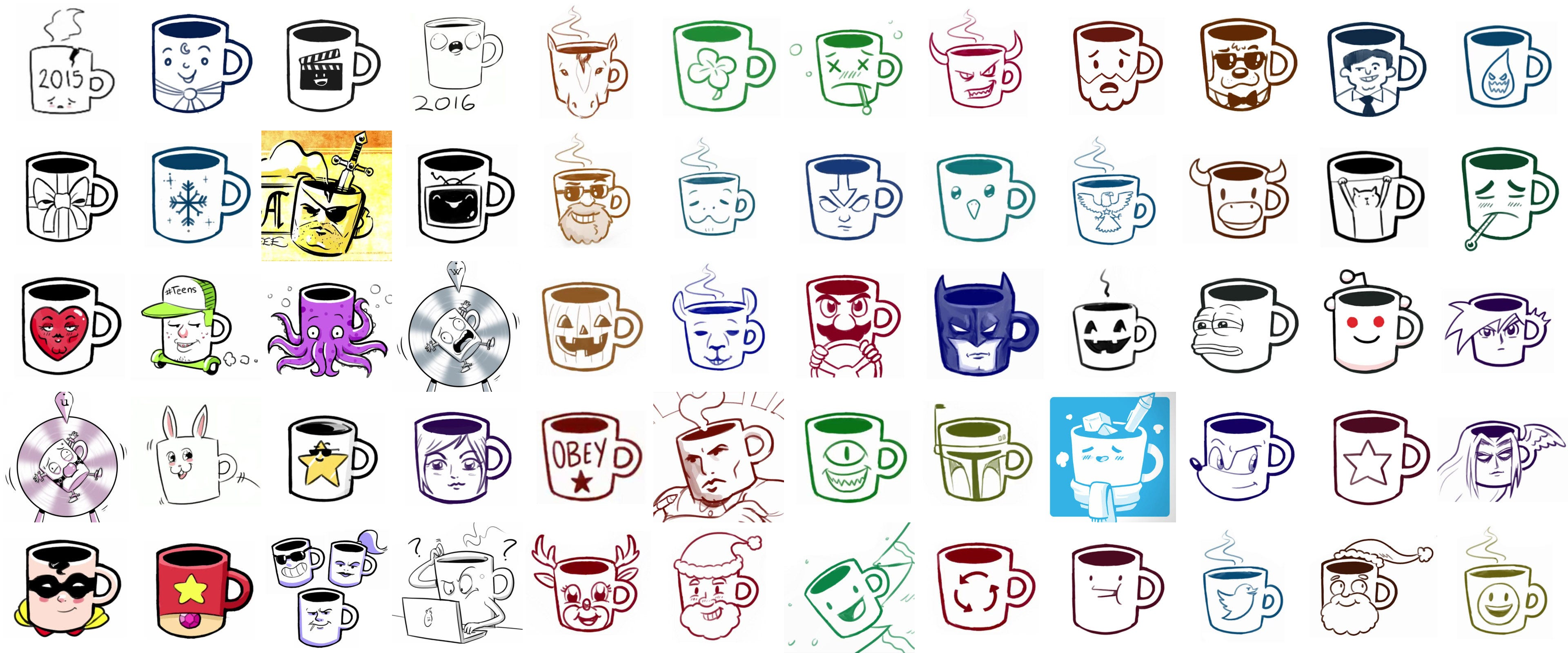 A collection of Drawfee mugs.