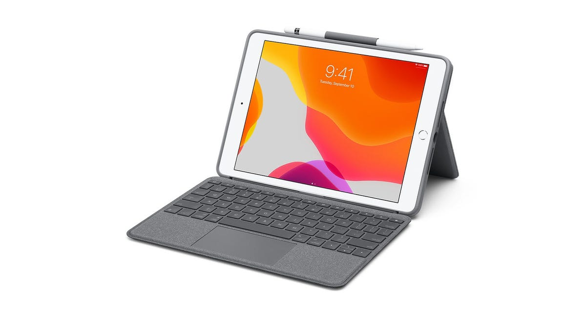 An iPad with the new Logitech Keyboard and Case attached.