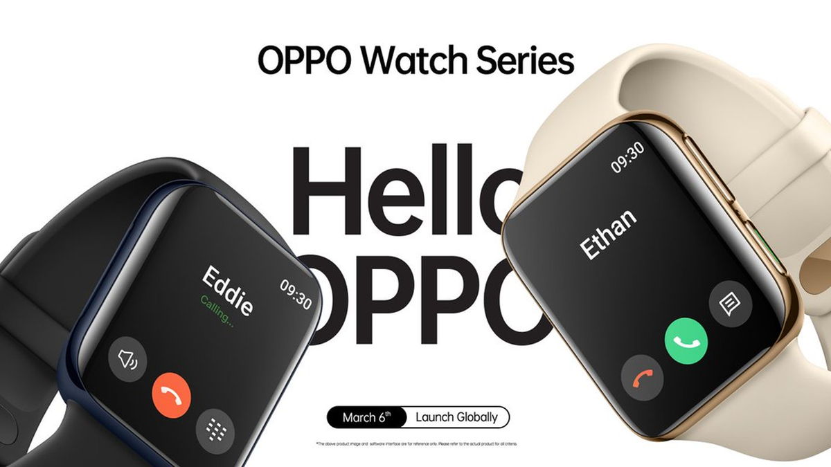 The Oppo Watch announcement banner showing two Oppo Watches in a call mode.