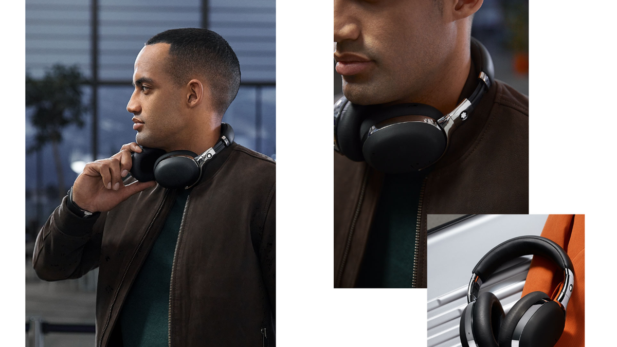 A photo of a man wearing the Montblanc smart headphones
