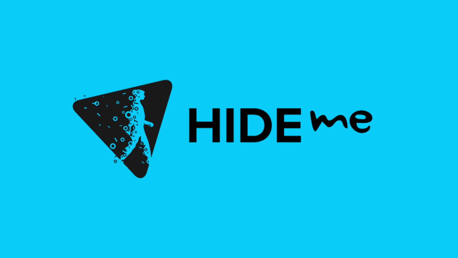 Hide.me company name and logo against blue background