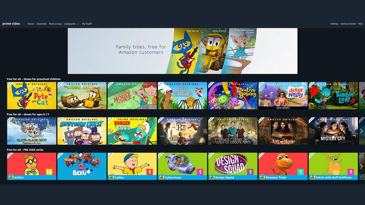 An Amazon Prime landing page, showing free children's show for watching.