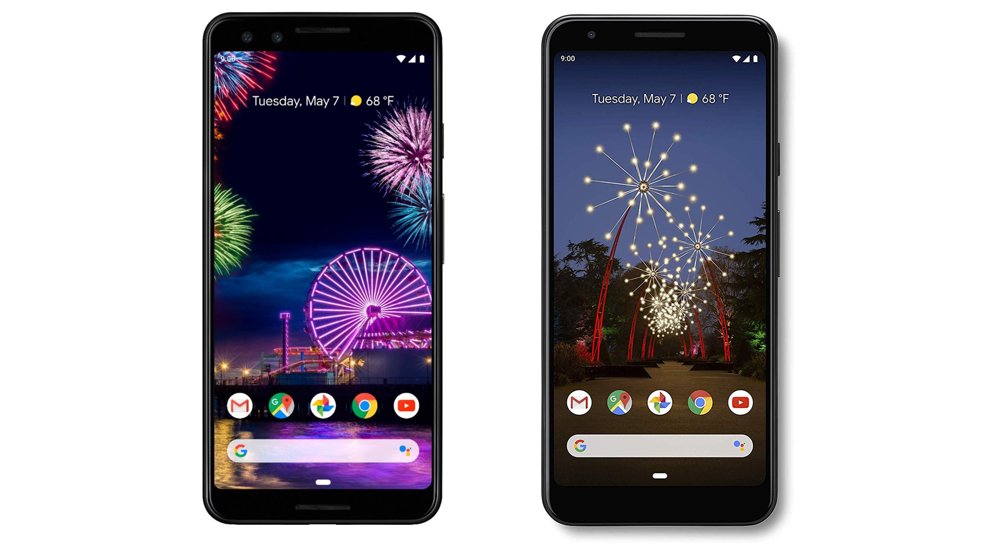 A photo of the Pixel 3 and Pixel 3a