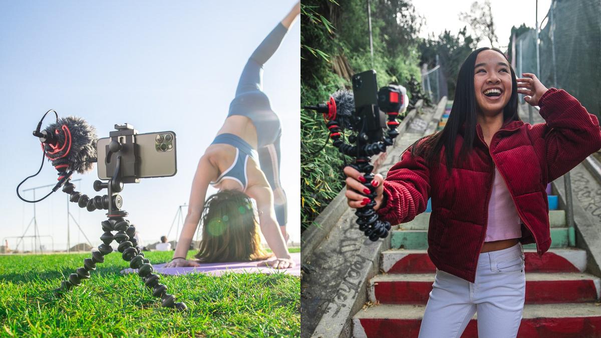 Content creators using the Joby vlogging kit.