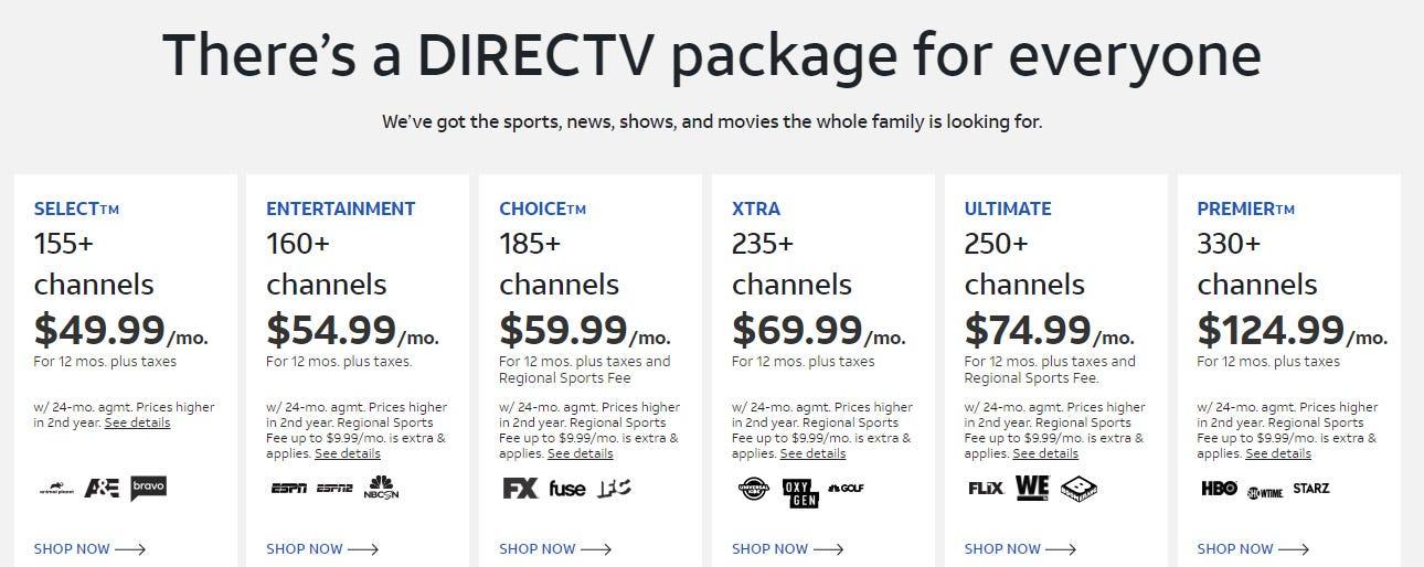 DirecTV pricing tiers