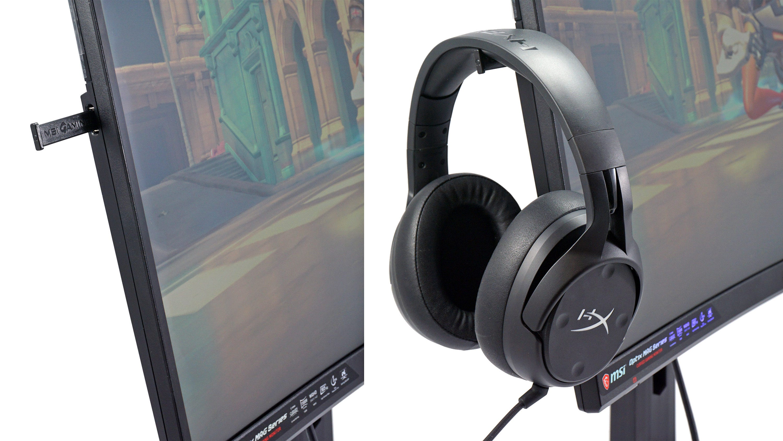 MSI Optix MAG272CQR headset holder.